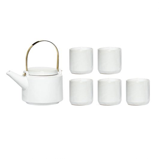 Ceramic Teapot w' 5 mugs