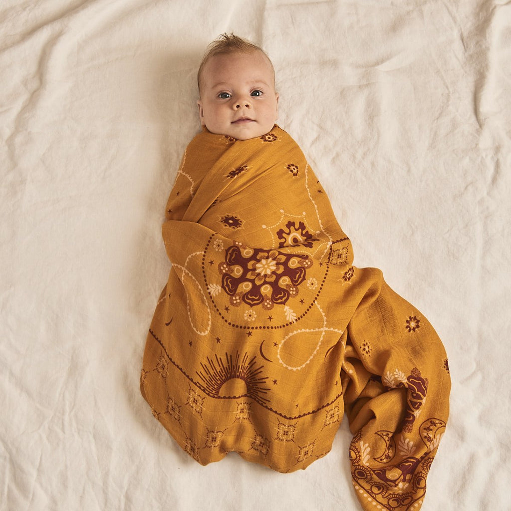 Celestial Sunshine Bamboo / Organic Cotton Swaddle