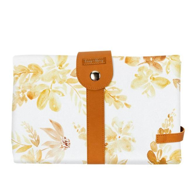 Travel Baby Change Mat - Mustard Floral