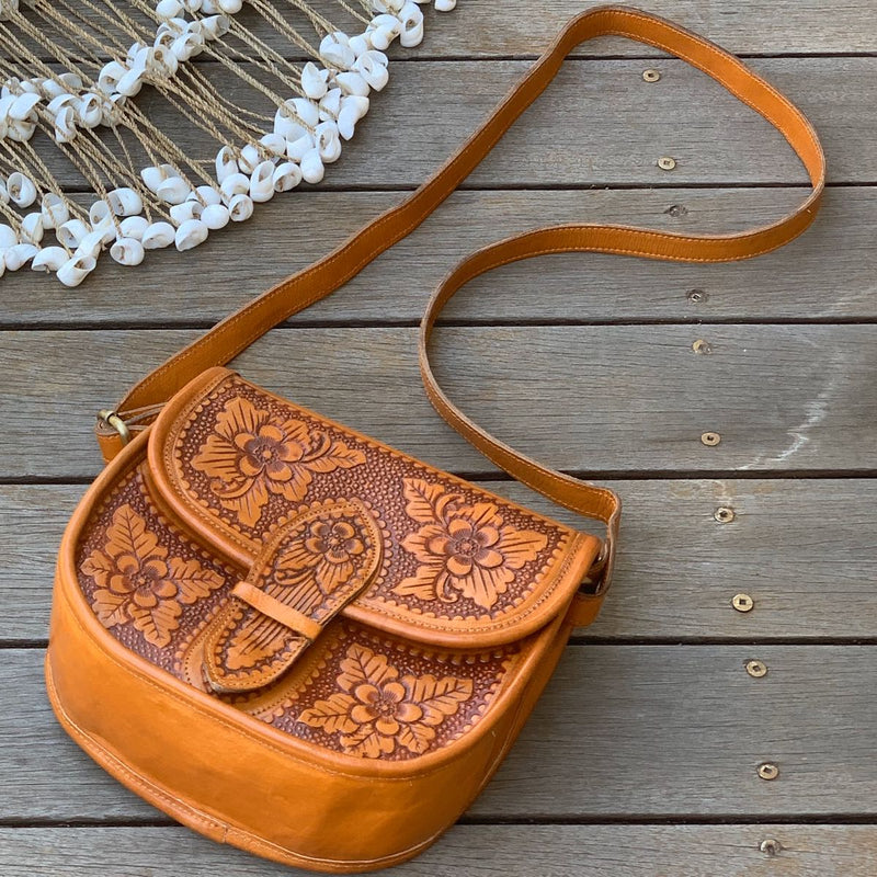 Leather Floral Saddle Bag