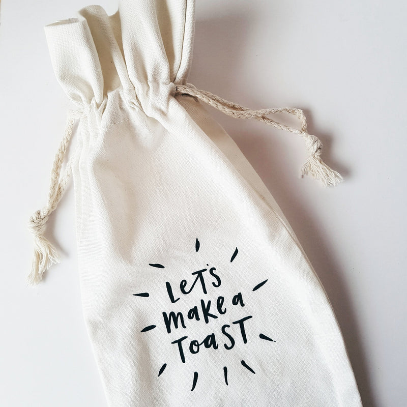 Make a Toast Canvas Wine Bag