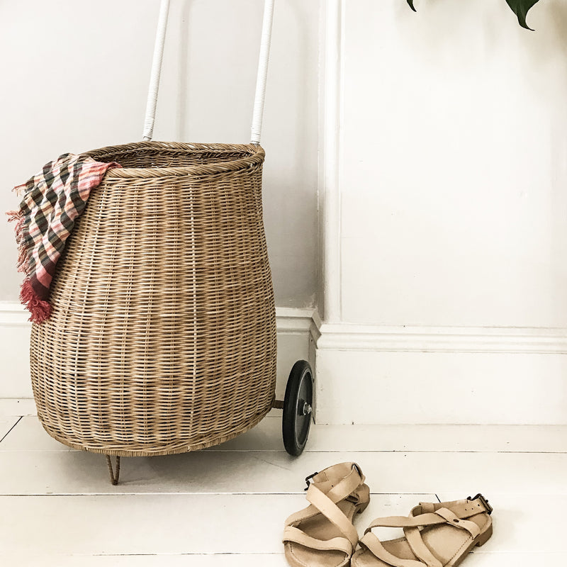 Round Cane Pot Holder Natural