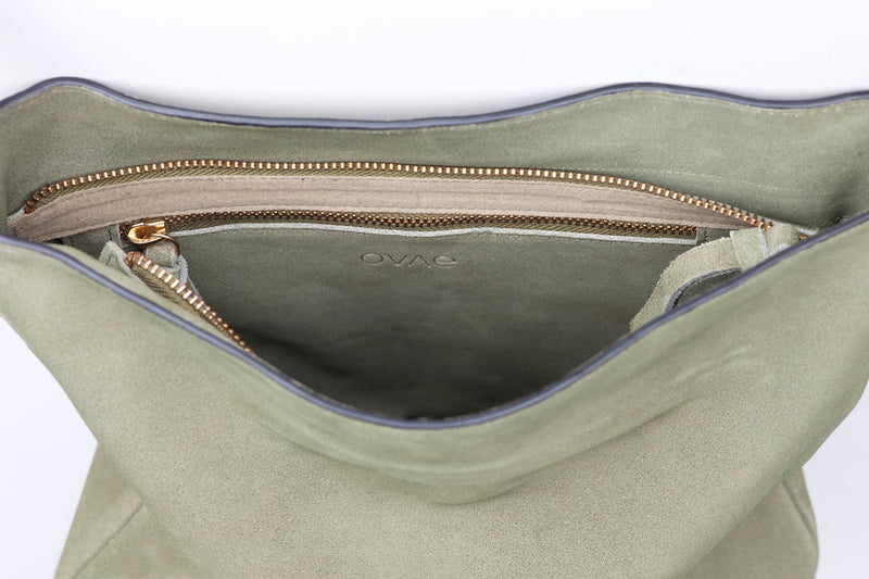 Suede Slouchy Bag - Olive