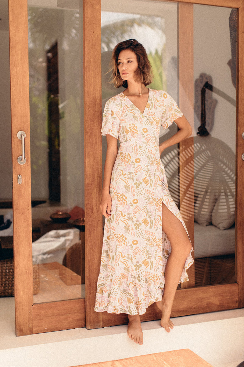 Maxi Wrap Dress - Lemon Myrtle