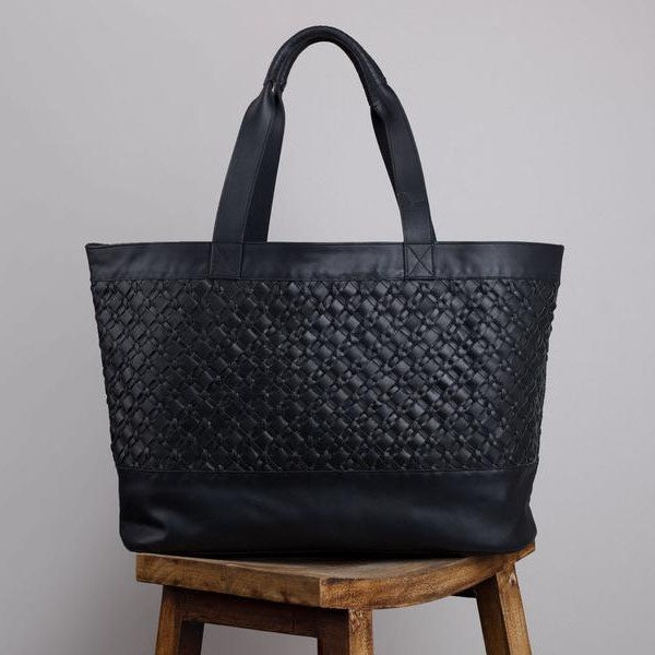 Florence Woven Travel Tote Black