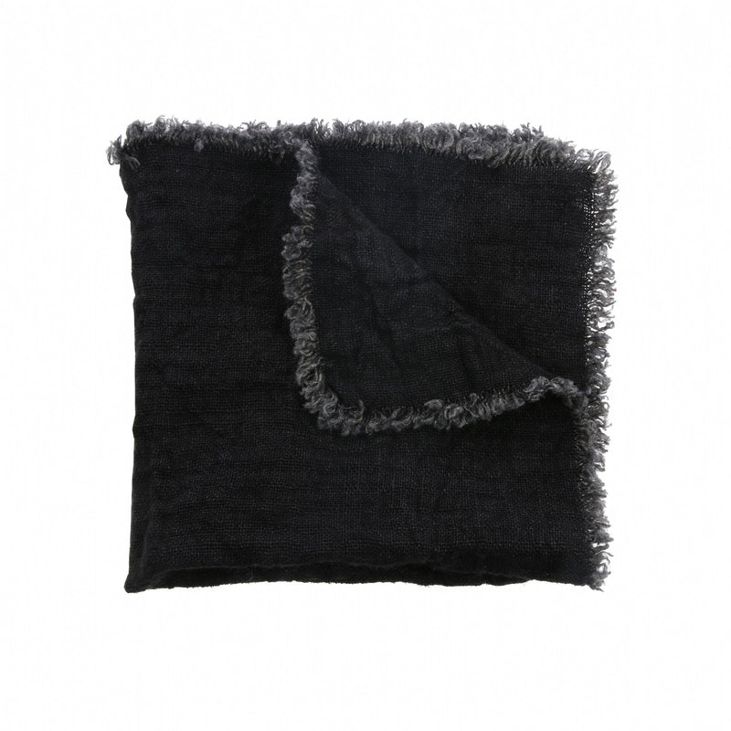 Charcoal Fringes Linen Napkin - Set of 2