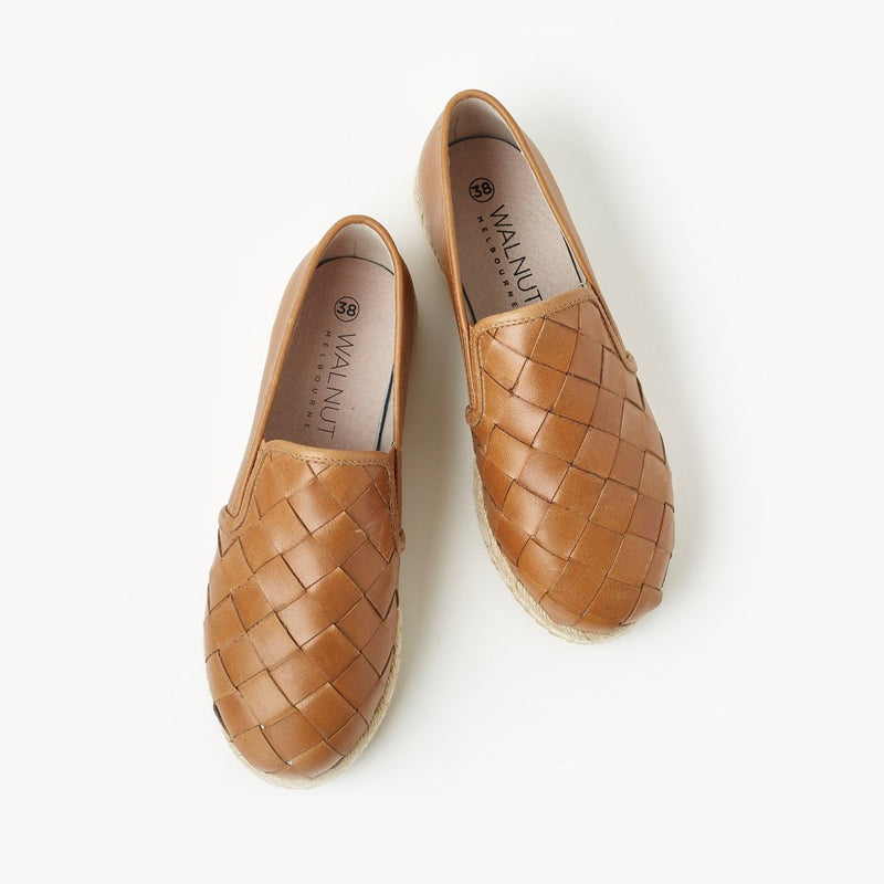 Goldie Leather Espadrille - Tan