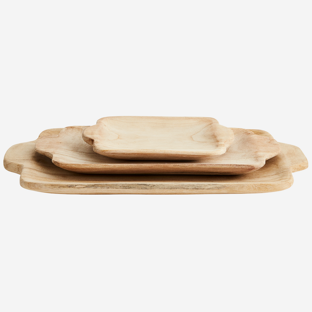 Rectangular Wooden Tray Set (3)