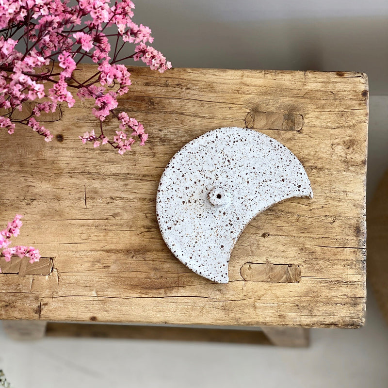 Incense Holder - Moon Raw Textured White