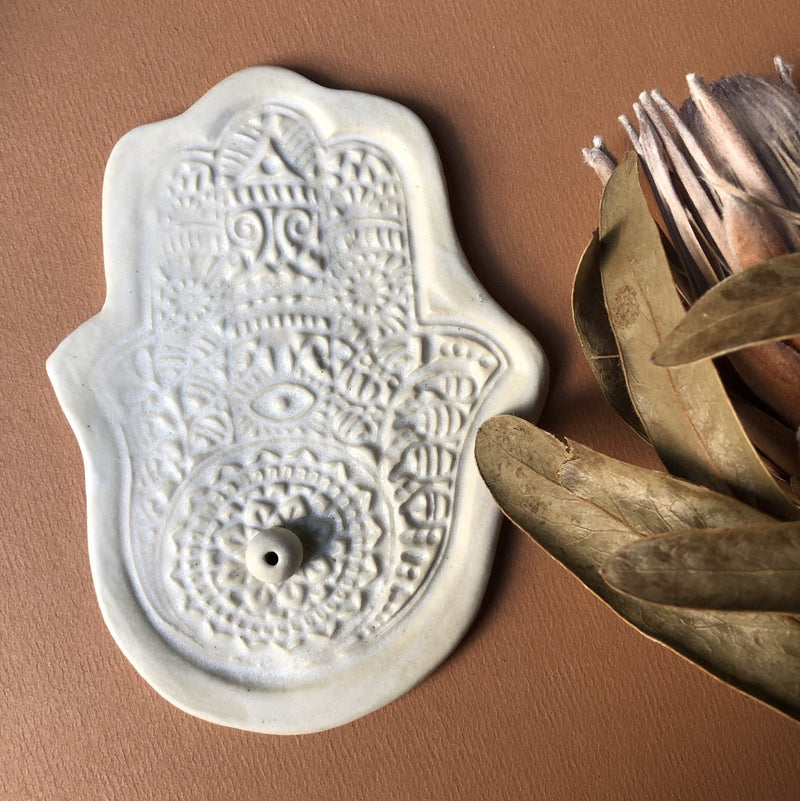 Incense holder - Hamsa Hand White