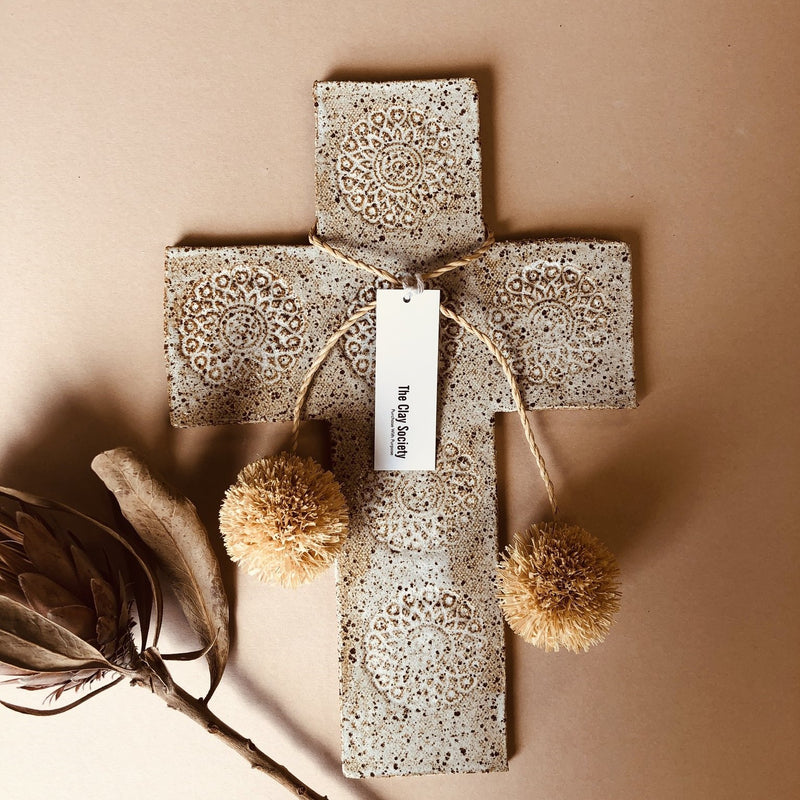 Boho Wall Cross with Pom Poms