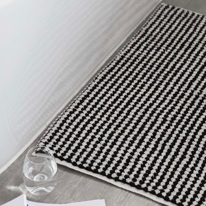 Pompom Turkish Bath Mat - Black & White