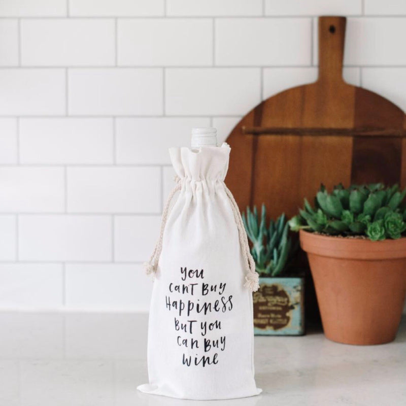 Happiness Canvas Wine Bag