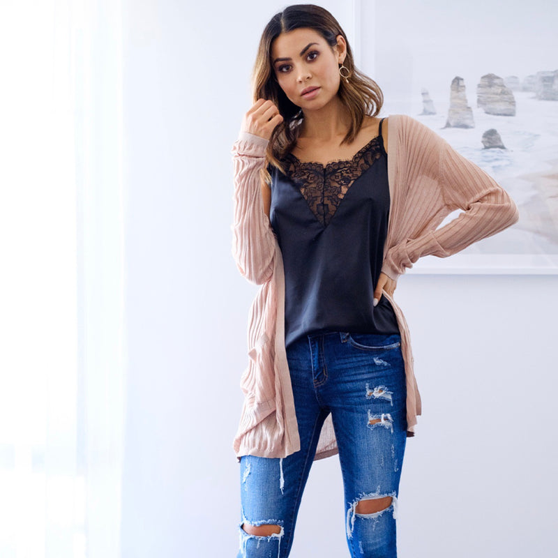 Hannah Lightweight Cardigan - Blush Nude