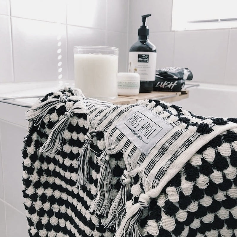 Pompom Turkish Towel - Black & White