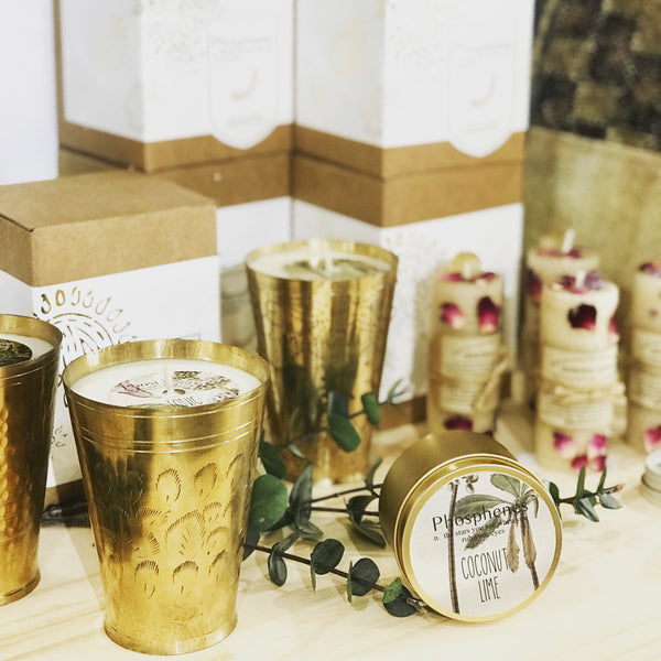 Soy Candle in Brass Turkish Lassi Cup