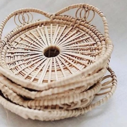 Whitewashed Bamboo Basket