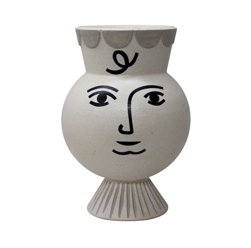 Pan Vase Ancient White