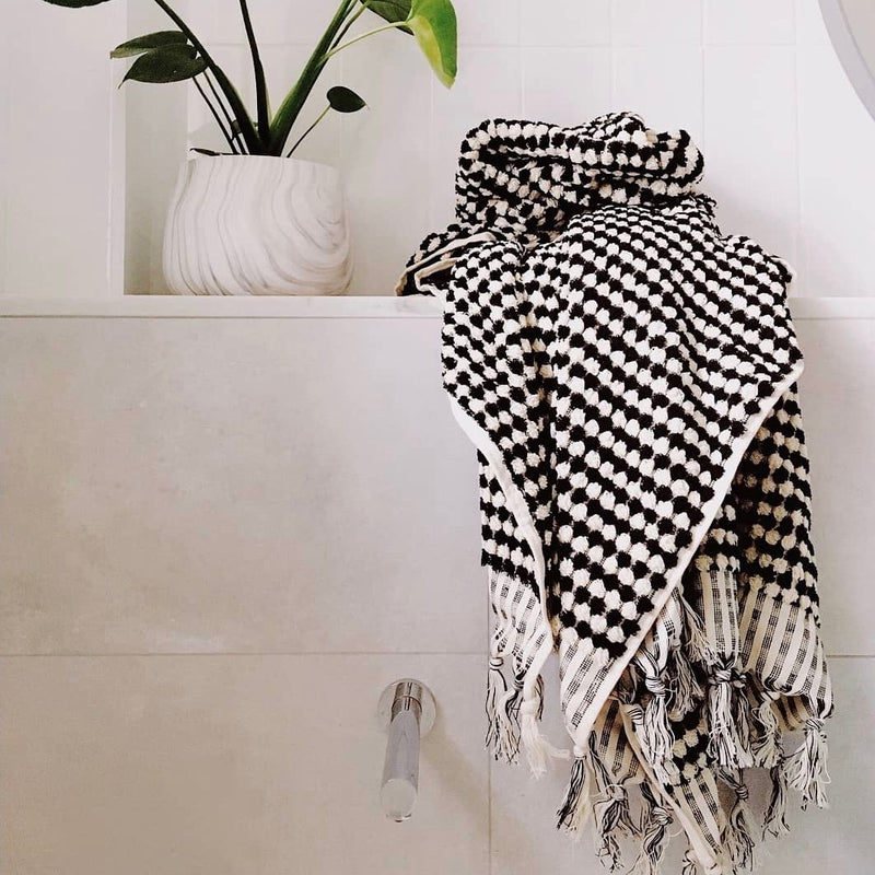 Pompom Turkish Hand Towel - Black & White