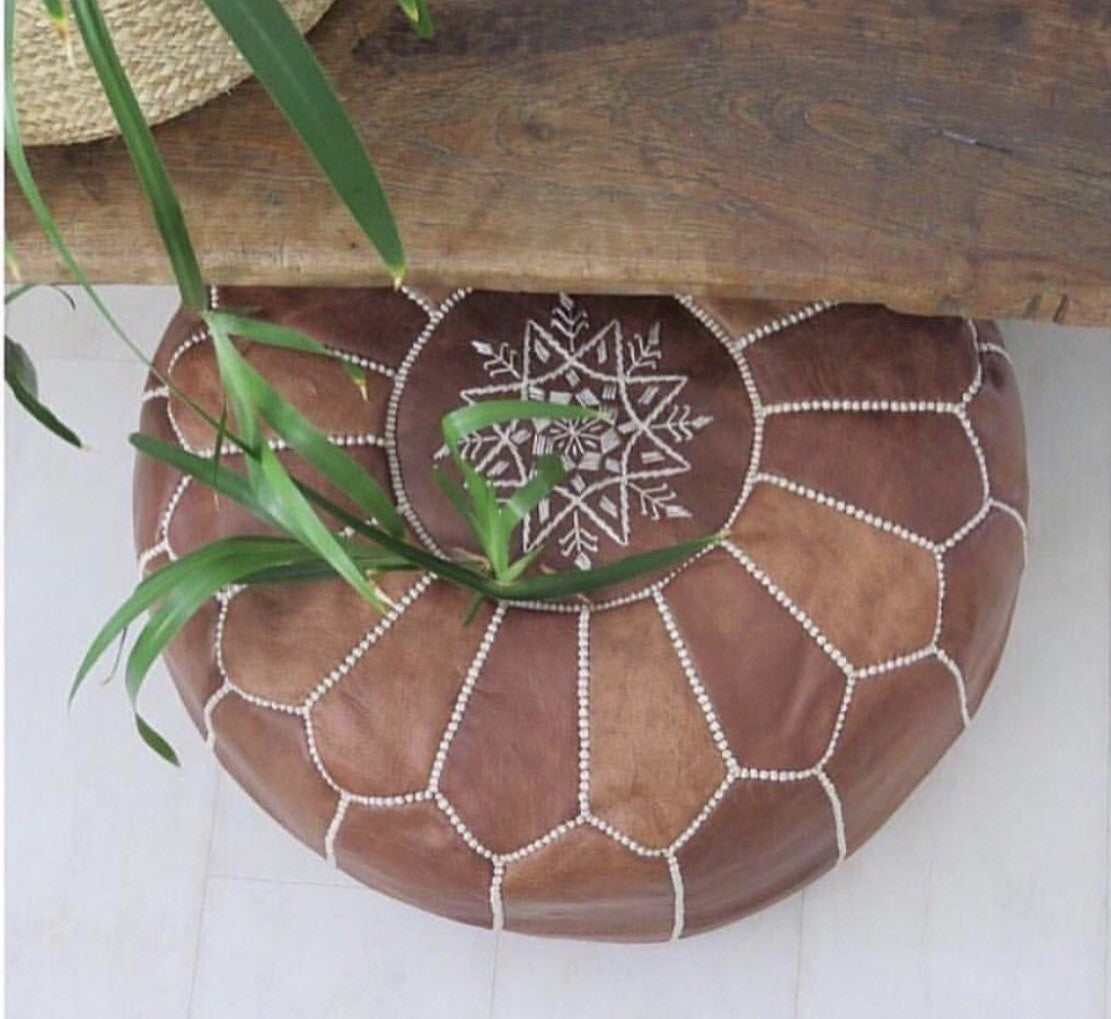 Moroccan Leather Pouffe - round