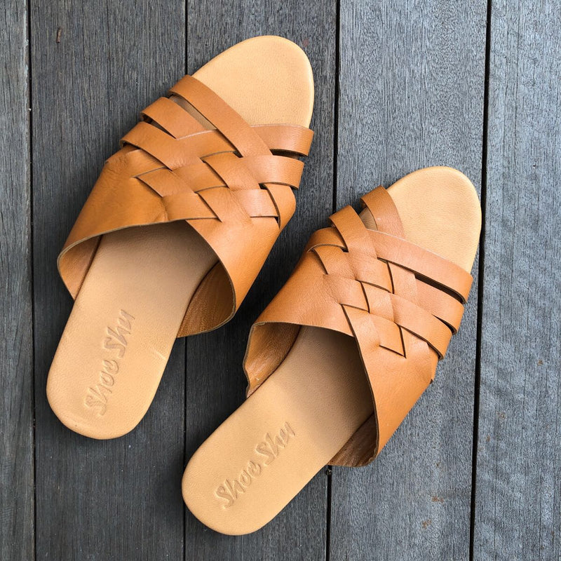 Leather Vintage Slide - Camel
