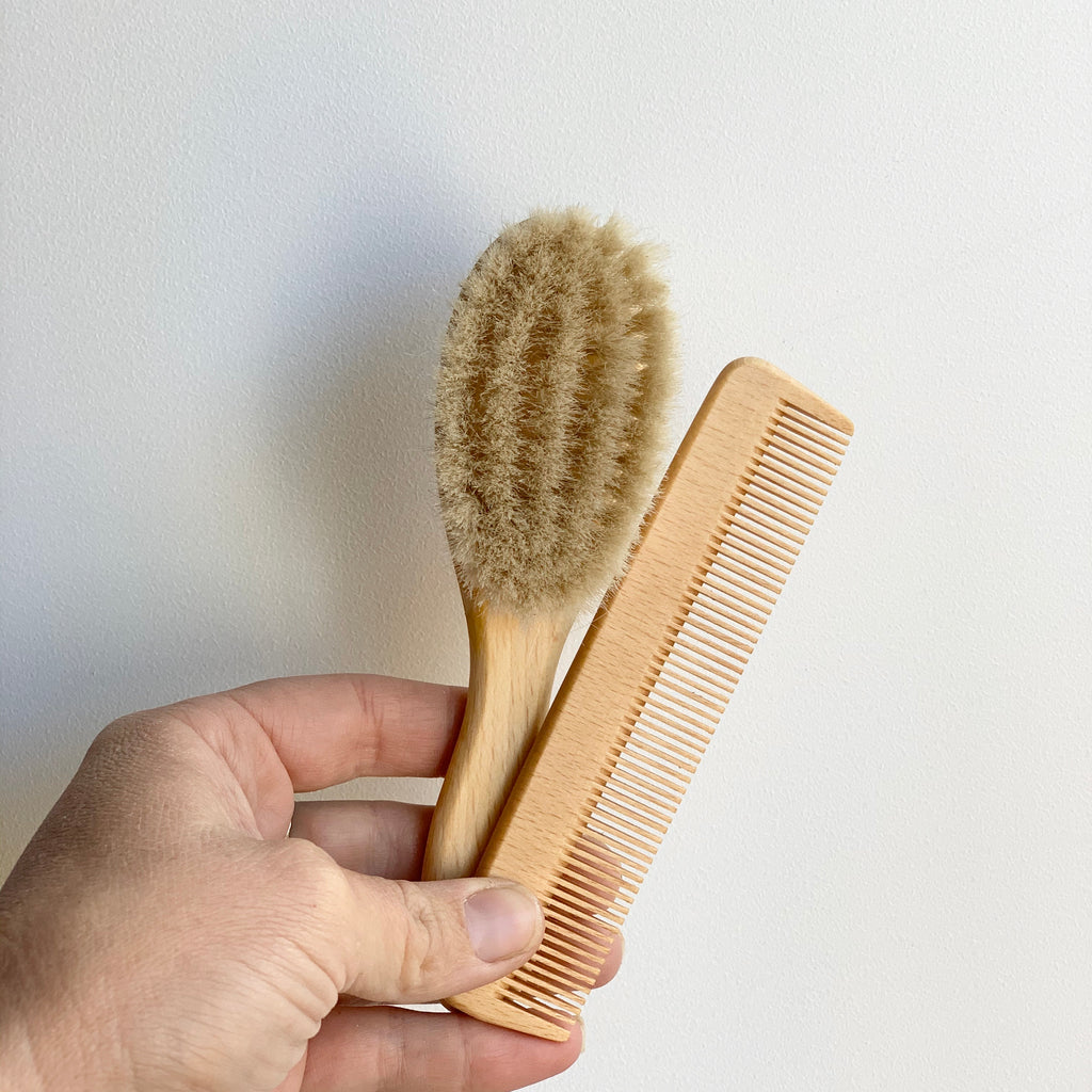 Baby Hair Brush & Wooden Comb Set