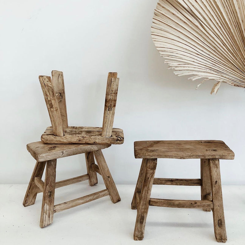 Elm Wood Workers Stool - XS