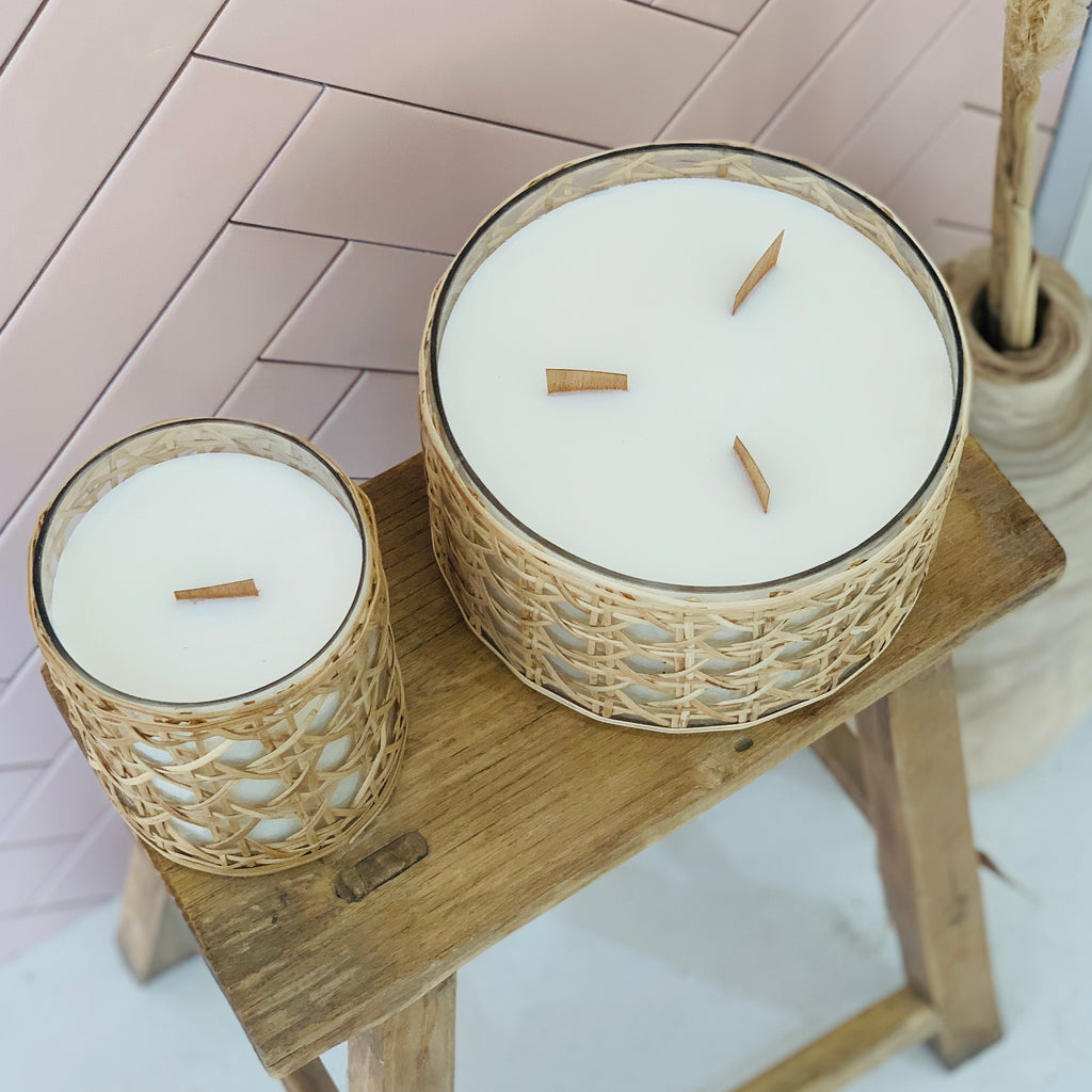 Lida Rattan Wrapped Candle - Medium