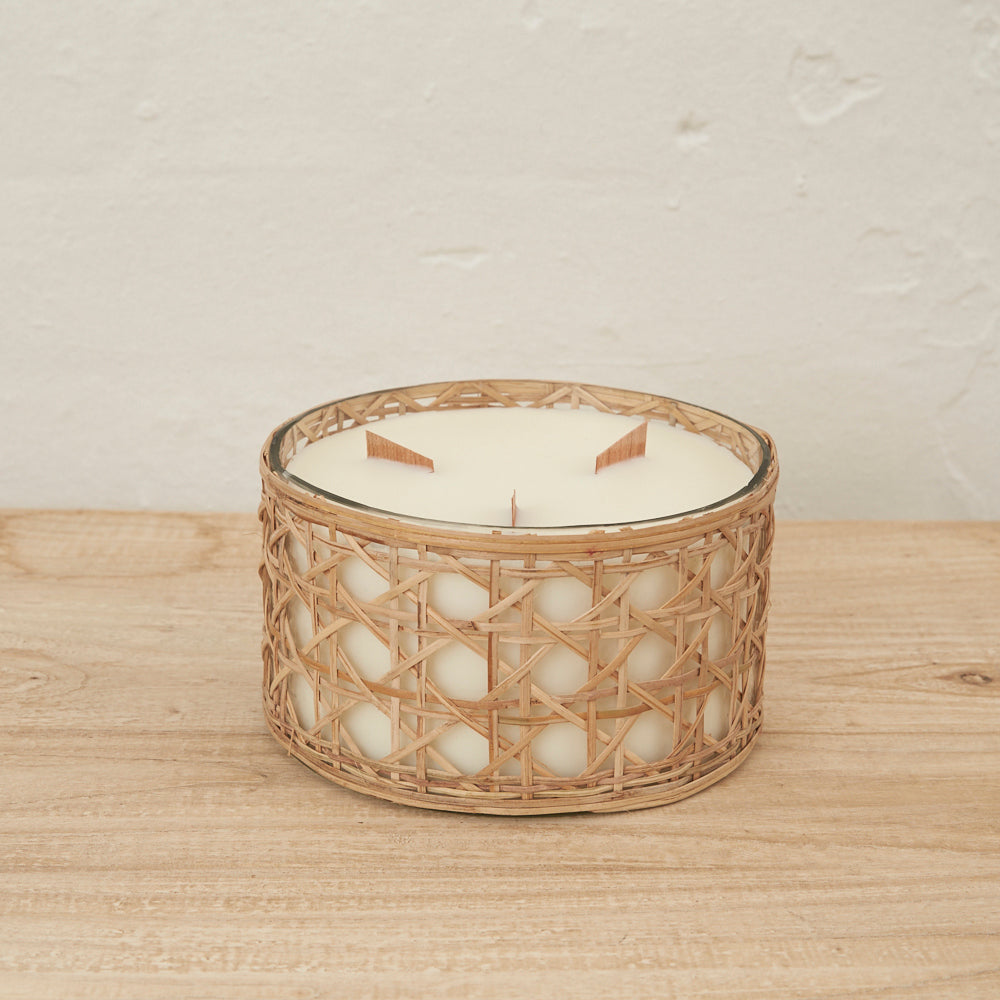 Lida Rattan Wrapped Candle - Large