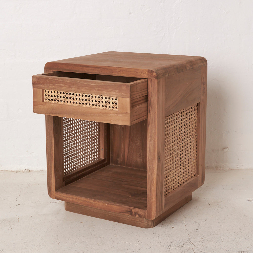 Jemina Teak and Rattan Bedside Table