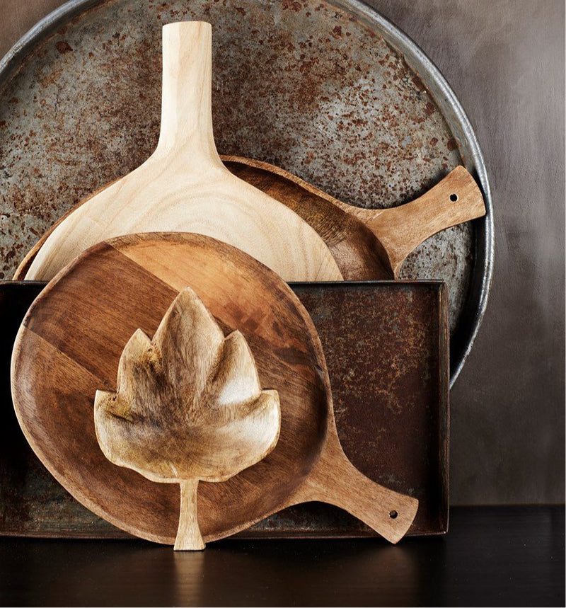 Wooden Handled Serving Dish - Round