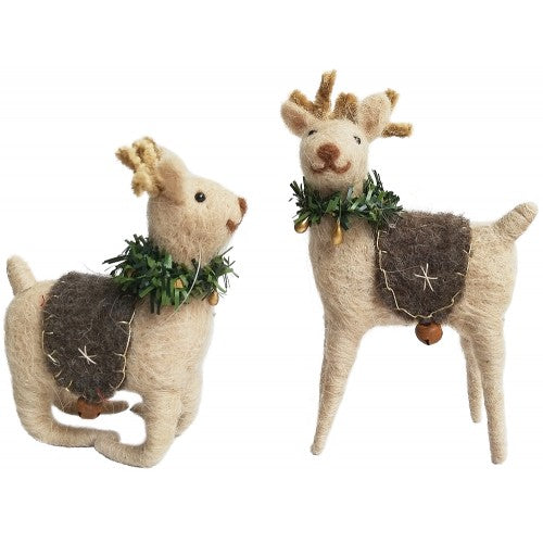 Felt Reindeer w Wreath Ornament Set