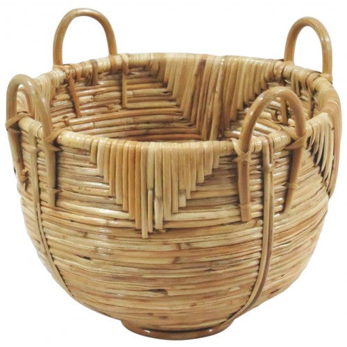 Whitewash Bamboo Lidded Basket