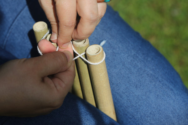 Bamboo Panpipes - putting together