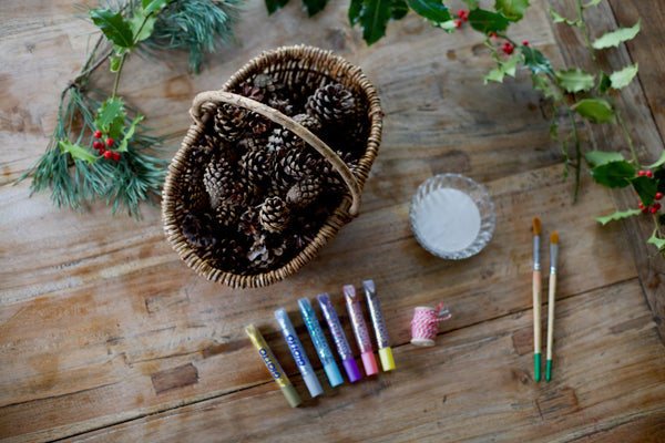 Craft Ideas For Kids | Christmas pinecone ornaments | Conscious Craft