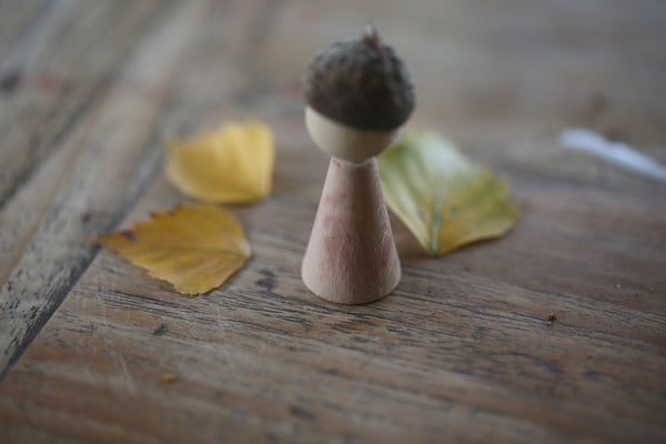Hand Painted Peg Doll With Acorn Hat