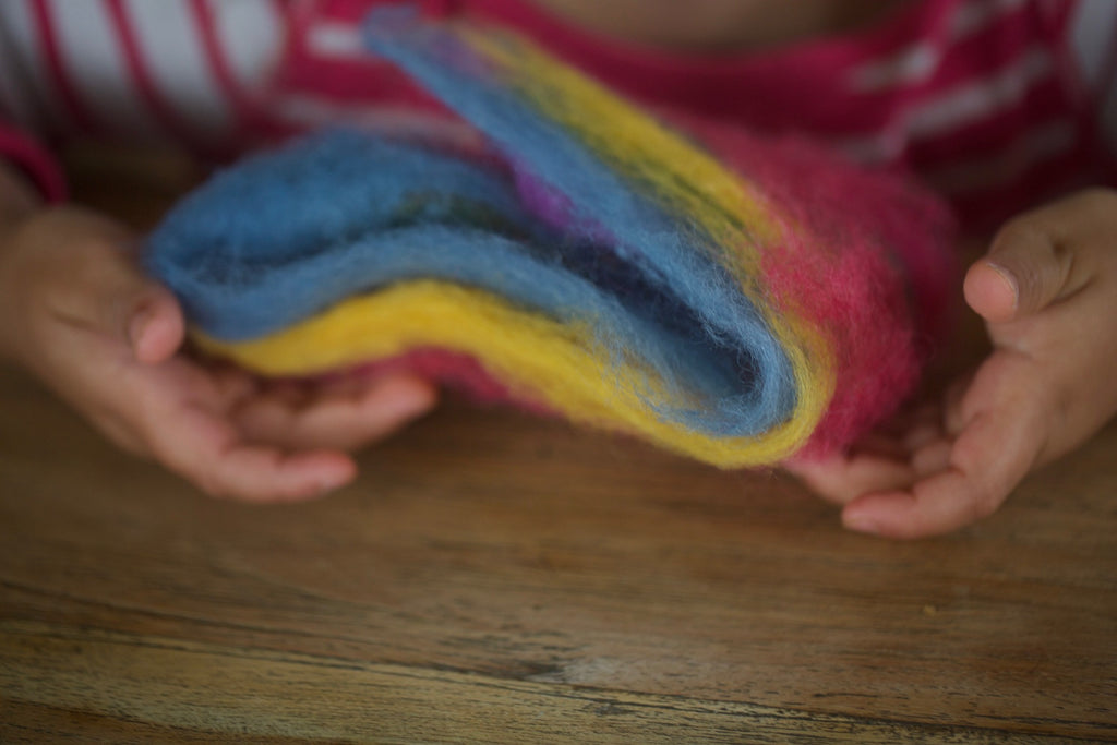 wool butterfly creating wings