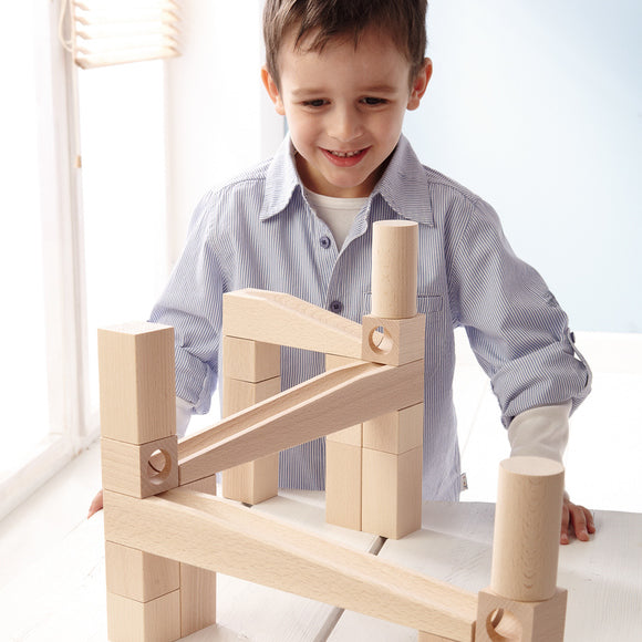 Wooden Marble Run | First Playing