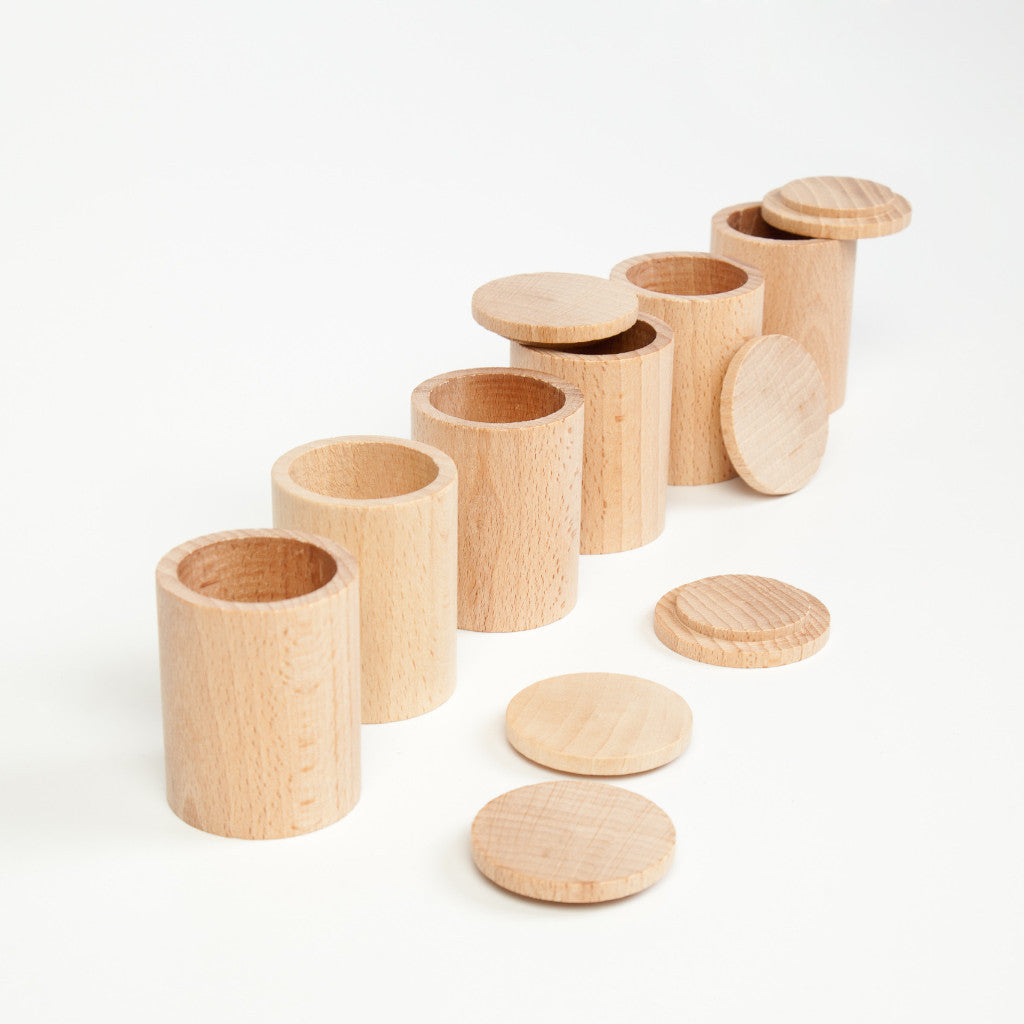 6 Natural Wooden Pots with Lids