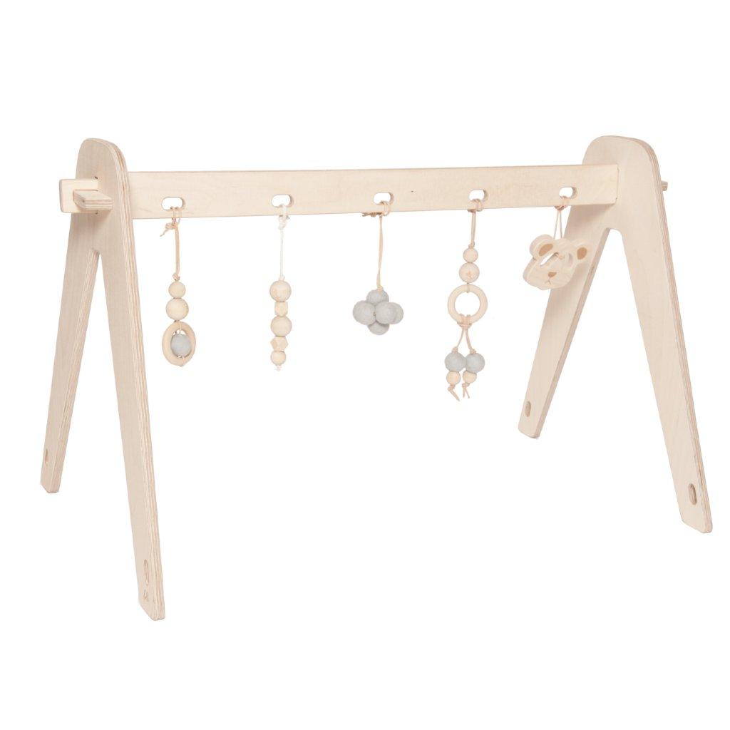 Wooden Baby Gym With Toys | Blue