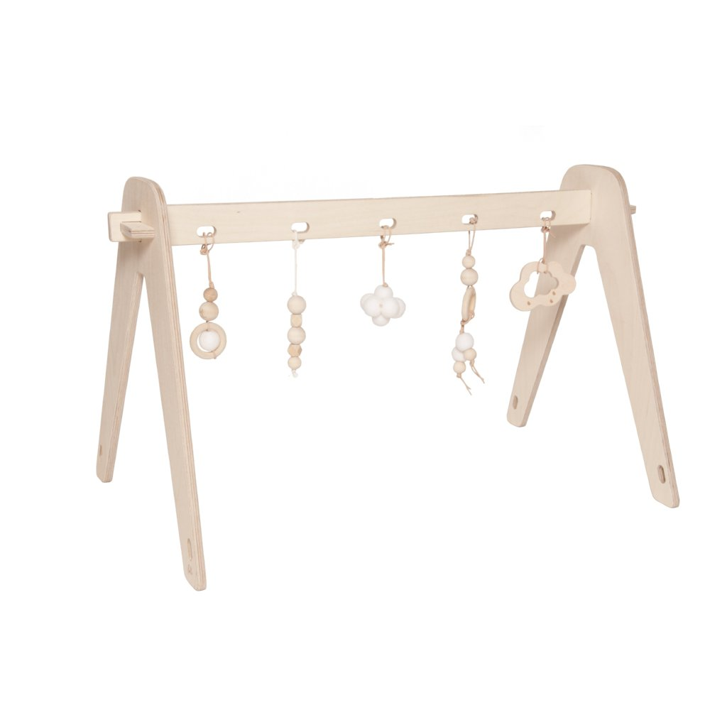 Wooden Baby Gym With Toys | White