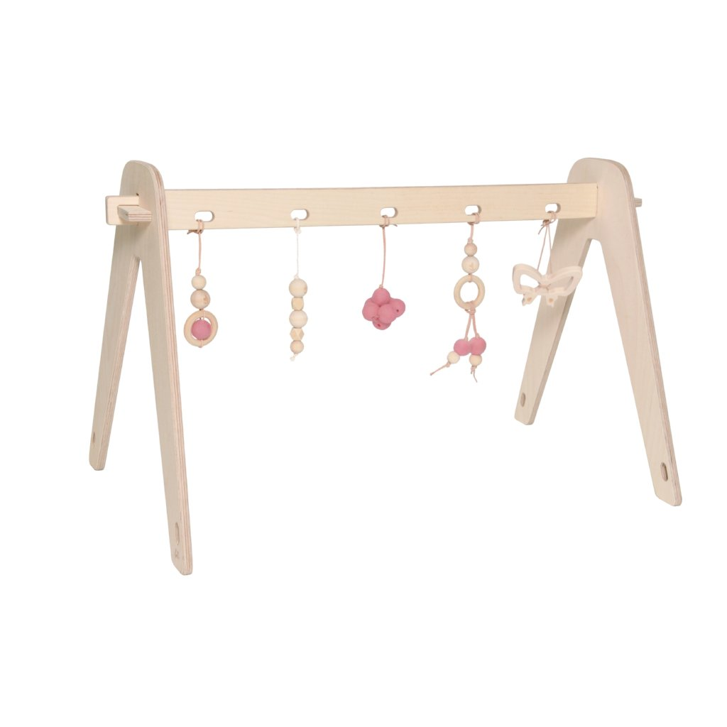 Wooden Baby Gym With Toys | Pink