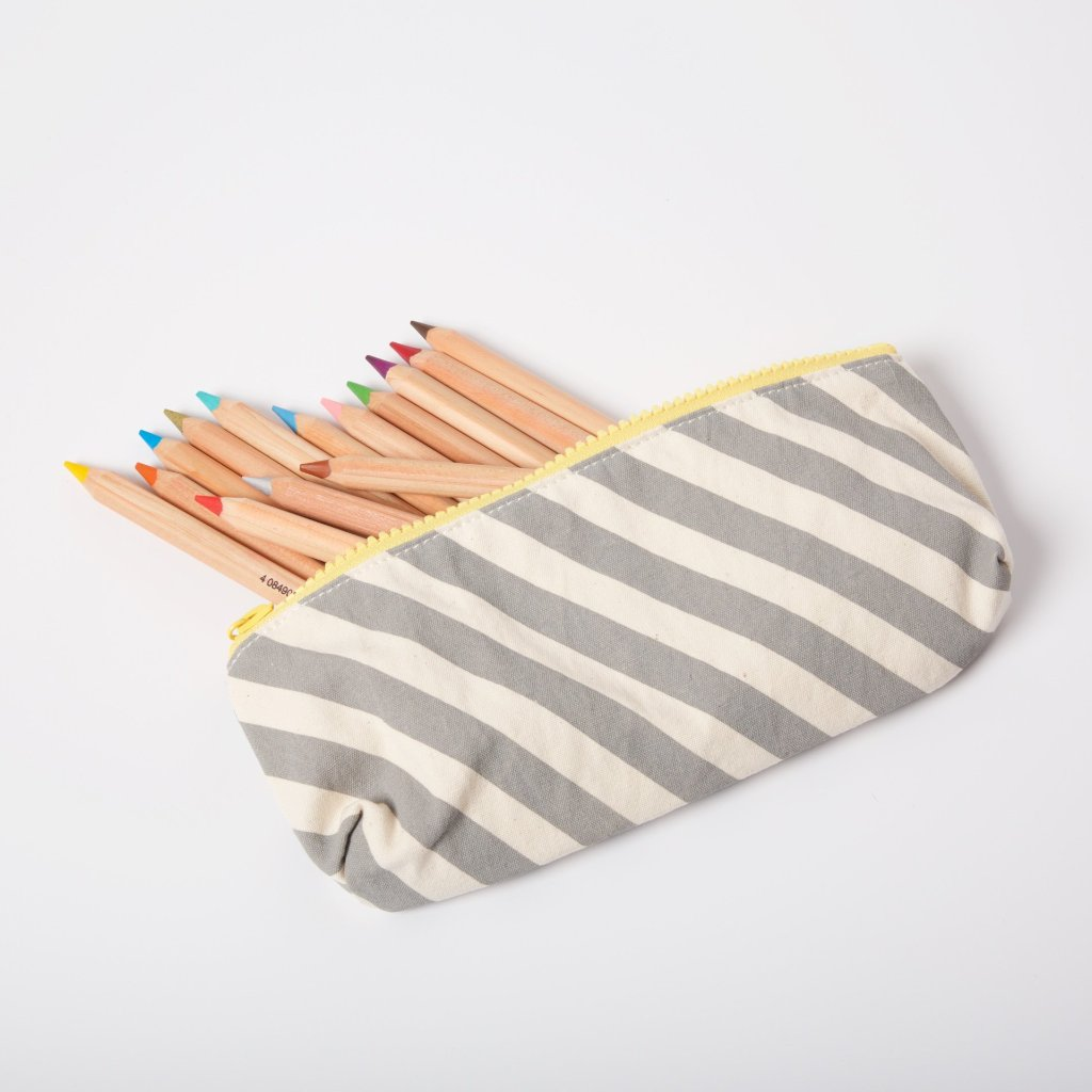 Organic Cotton Pencil Case | Grey Stripe
