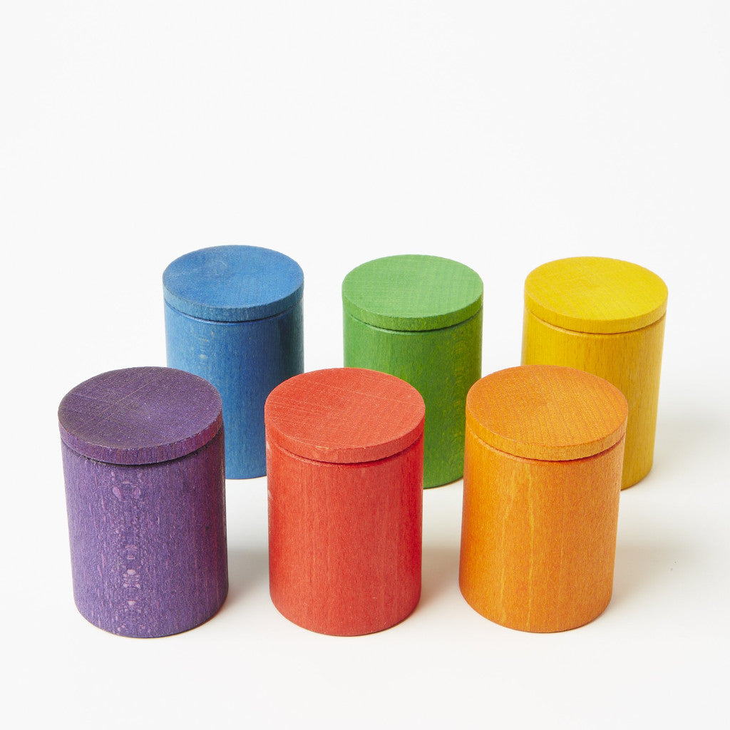6 Rainbow pots with lids