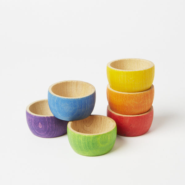 Grapat's 6 wooden bowls in rainbow colours - Conscious Craft