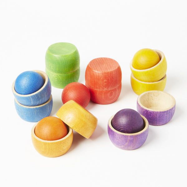 Grapat wooden rainbow bowls with balls - Conscious Craft