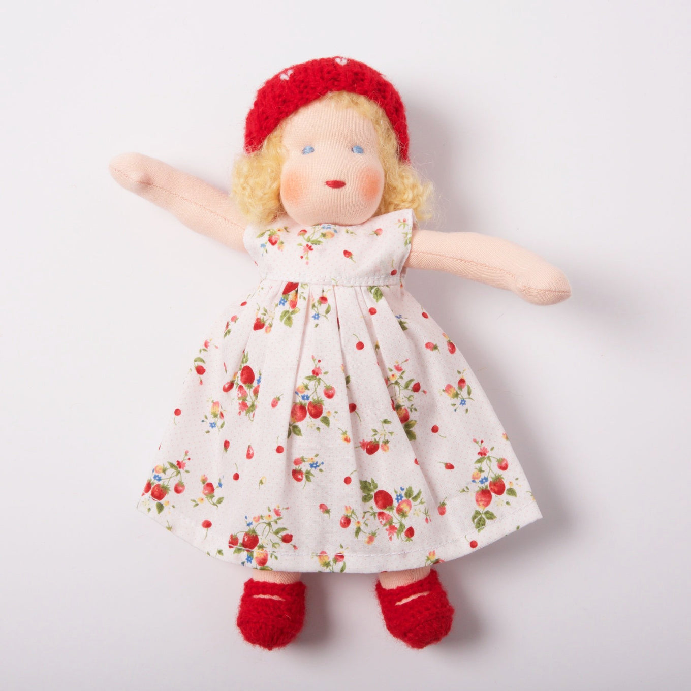 Waldorf Doll Blonde Hair | Red/Cherry