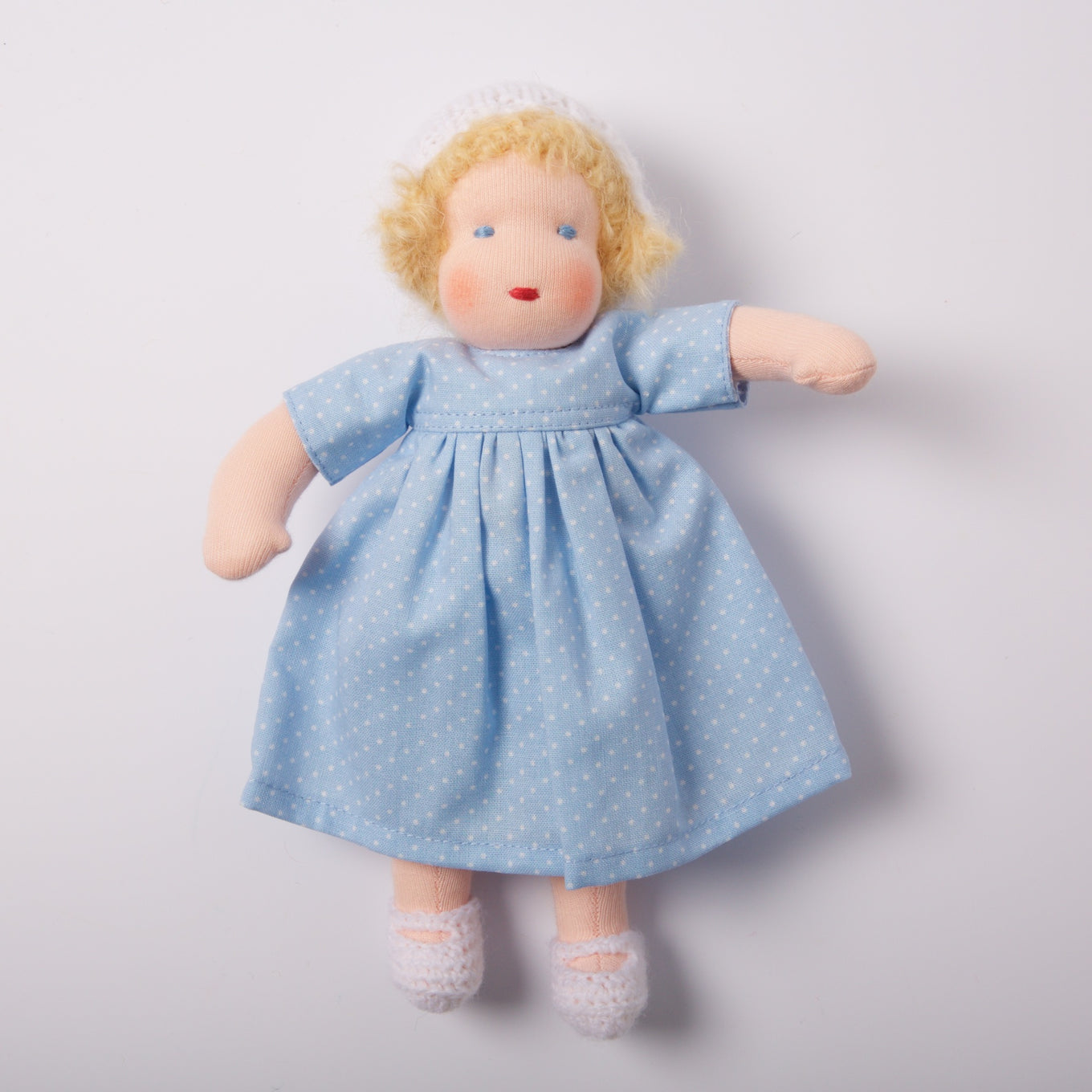 Waldorf Doll Blonde Hair | Blue Dress