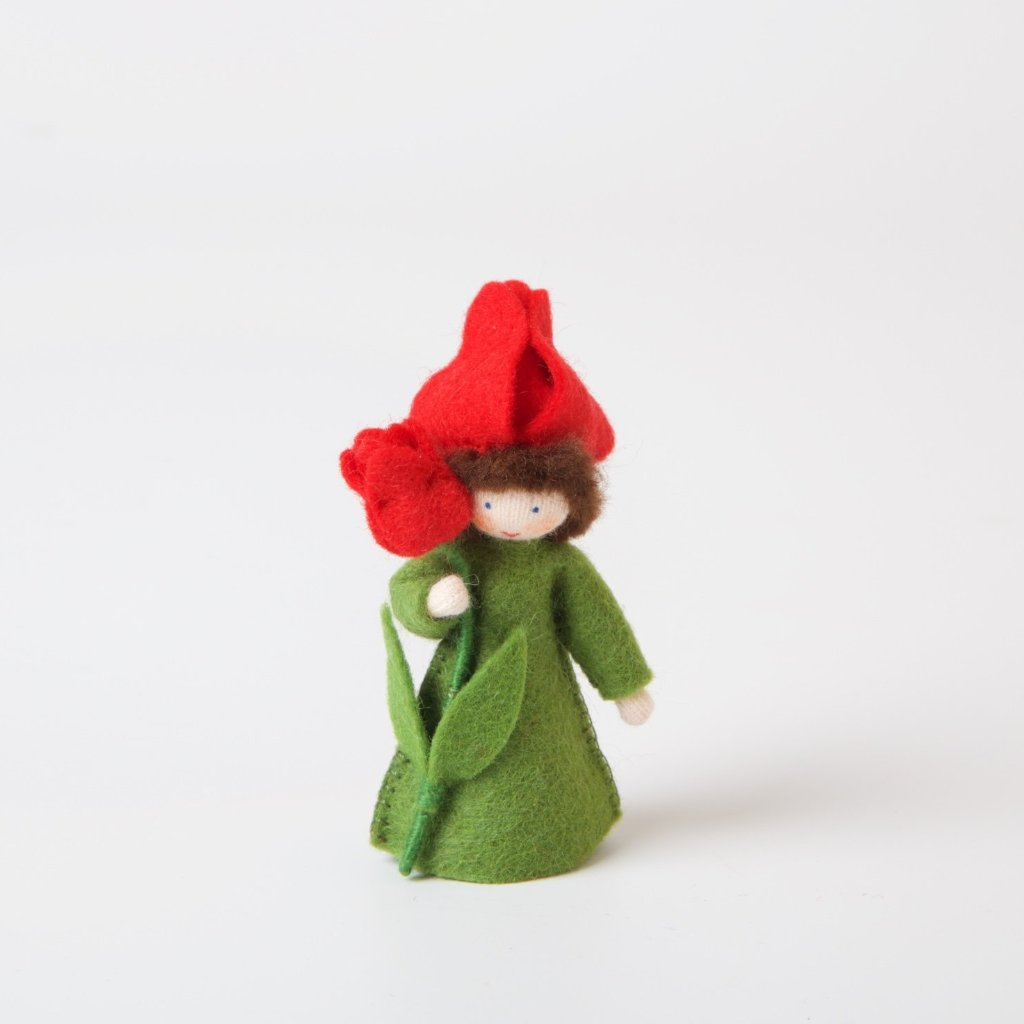 Flower Fairy With Flower In Hand | Red Tulip
