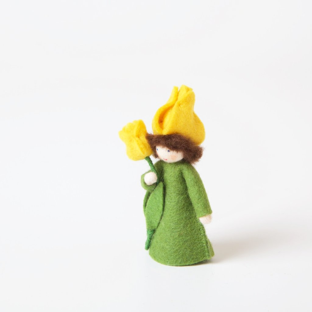 Flower Fairy with Flower in Hand | Yellow Tulip